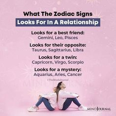 What The Zodiac Signs Looks For In A Relationship…Looks for a best friend: Gemini, Leo, PiscesLooks for their opposite Taurus, Sagittarius, LibraLooks for a twin: Capricorn, Virgo, ScorpioLooks for a mystery: Aquarius, Aries, Cancer #zodiac #astrology #zodiactraits #relationship