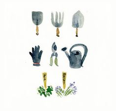The Gardener's Tools Print of my original by TheJoyofColor on Etsy, $21.00