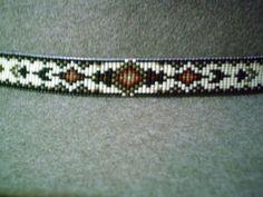 Native American style beaded hatband, loom beaded hat band Earthtone