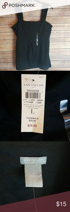NWT ANN TAYLOR Soft Black Wide Strap Tank Top New with tags. ANN TAYLOR Soft Black Wide Strap Tank Top.   Size Large Ann Taylor Tops Tank Tops