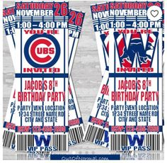World Series Champion Chicago Cubs Themed Birthday by OutOfNormal Baseball Birthday Invitations, Baseball Birthday Party, 30th Birthday Parties, Dad Birthday, Party Tickets, Baseball Tickets, Pirates Baseball, Chicago Cubs Baseball, Santiago