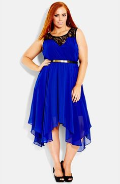 City Chic Chiffon & Lace Keyhole Dress (Plus Size) available at #Nordstrom
