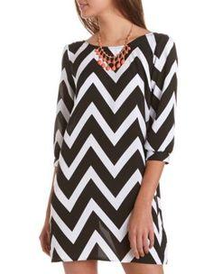 chevron stripe shift dress  Black and White
