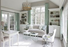 From emerald sofas and jungle green tiles to sage walls and minty draperies, all of these homes will have you feeling green with envy. Best Office Colors, Office Paint Colors, Top Paint Colors, Green Home Decor, Home Office Decor, Office Ideas, Elegant Home Decor, Elegant Homes, Feminine Home Offices