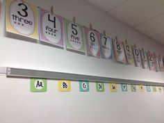 Hanging posters on the wall with Clothespins. Great idea!