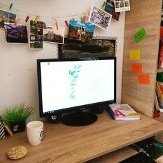 Nowy sprzęt - biuro w kuchennej wnęce. Domowe biuro Klaudyny.