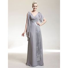TS+Couture®+Formal+Evening+/+Military+Ball+Dress+-+Elegant+Plus+Size+/+Petite+Sheath+/+Column+V-neck+Floor-length+Chiffon+/+Sequined+with+Beading++–+AUD+$+142.99