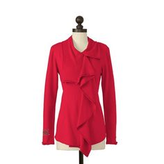 The Miami RedHawks Asymmetric Zip Jacket in Red