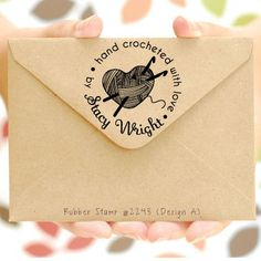 Crochet Rubber Stamp (Hand Crocheted with love by) Personalized Crochet Stamp, Crocheted by, Created by, Handmade by, Craft Supplies (2243) on Etsy, $18.00