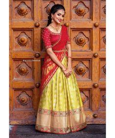 Check out some of the exotic ethnic wears for this season by the brand Anju Shankar Official. Lehenga Saree Design, Half Saree Lehenga, Lehnga Dress, Saree Look, Lehenga Designs, Banarsi Saree, Lehenga Blouse, Half Saree Designs, Sari Blouse Designs