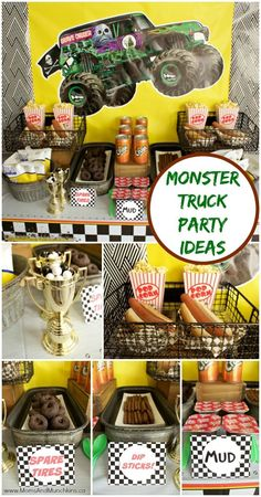 Monster Truck Birthday Party Ideas - DIY decorating ideas, creative party foods that kids will love, party games and more!