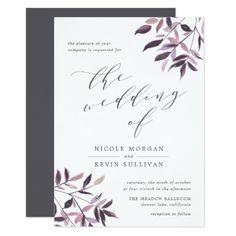 Harvest Blush   Watercolor Wedding Invitation#purple #plum #pink #weddinginvitations #watercolorweddinginvitations #peonies #poppies