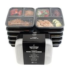 [10-Pack] Premium 3-Compartment Stackable Meal Prep Containers With Lids Microwave, Dishwasher Safe And Reusable Bento Lunch Box With Plate Dividers By California Home Goods