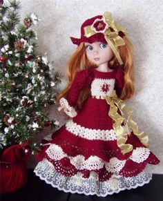 Hand Crochet Dress Set Made For Wilde/Tonner Garden Patience & Similar Size 14' Dolls