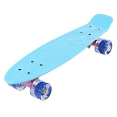 Freestyle 22 Inches Mini Cruiser Banana Style Longboard Pastel Color Fish Skateboard with LED Flashing Wheels 5 Colors