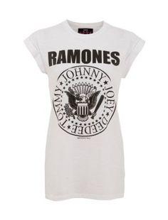 White Ramones Band T-Shirt  New Look