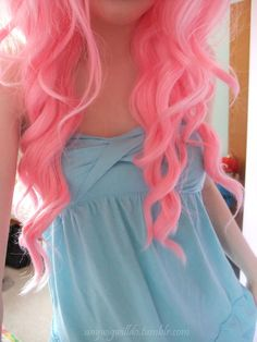 Pink cotton candy hair! It's amazing. I want this color!