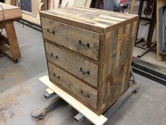 Handcrafted Reclaimed Barn Pallet Wood Dresser Nightstand Side Table - - Leonids