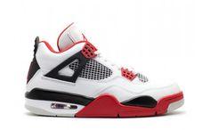 buy authentic air jordan 4 white varsity red-black retro basketball shoes mens