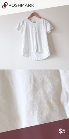 {Donation Pile} White cotton tee Size S. hi-lo design. Basic white tee. Stains in the front right from an icecream fight. Yep. ➕Donating 3/31 ➕ Zara Tops Tees - Short Sleeve