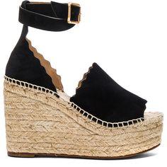 Chloe Suede Lauren Espadrilles (13,060 MXN) ❤ liked on Polyvore featuring shoes, sandals, heels, wedges, platform sandals, platform wedge shoes, platform espadrilles, wrap sandals and espadrille sandals