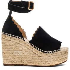 Chloe Suede Lauren Espadrilles (€610) ❤ liked on Polyvore featuring shoes, sandals, heels, wedges, shoes., wrap sandals, platform espadrilles, heeled sandals, wedge espadrilles and espadrille sandals