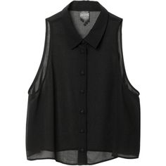 Rosanna Singlet ($24) ❤ liked on Polyvore featuring tops, shirts, blouses, tank tops, flare shirts, see through tank top, black sheer shirt, black singlet and sheer black tank top