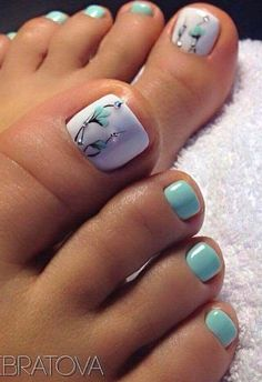 Pretty Toe Nails, Cute Toe Nails, Toe Nail Art, Gel Nail Art Designs, Colorful Nail Designs, Nail Designs For Toes, Blue And Silver Nails, Painted Toe Nails, Glitter Toes