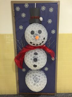 Snowman Door Cover Winter Snowman Door