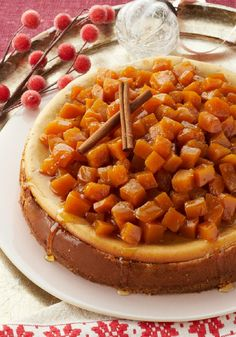 Candied Pumpkin-Topped Cheesecake — With candied cubes of fresh pumpkin atop a creamy, spicy cheesecake, this is a pumpkin dessert recipe for true pumpkin lovers.