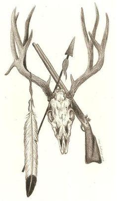 Deer Skull Tattoo Sleeve Antlers Ideas For 2019 Deer Skull Tattoos, Hunting Tattoos, Deer Skulls, Deer Skull Drawing, Tattoo Drawings, Body Art Tattoos, Sleeve Tattoos, Cool Tattoos, Tattoo Pics