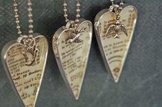Vintage Style Heart & Bird Necklace