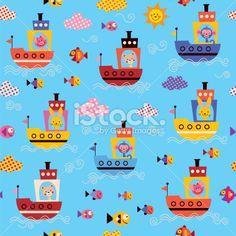 cute animals in boats kids sea pattern Royalty Free Stock Vector Art Illustration