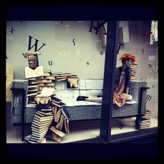 Harvey Nichols window display made out of books and notepads