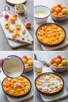 Preparation of an apricot pie Apricot Pie, Apricot Recipes, Sweet Recipes, Cake Recipes, Dessert Recipes, Dessert Aux Fruits, Sweet Pie, Party Desserts, Creative Food