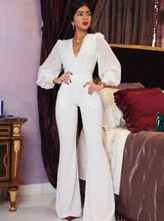 Shein offers plunging pearl embellished lantern sleeve flared jumpsuit & more to fit your fashionable needs. Hijab Evening Dress, Hijab Dress Party, Evening Outfits, Jumpsuit Hijab, Jumpsuit Dressy, Modest Fashion Hijab, Fashion Dresses, Classy Outfits, Gothic Fashion