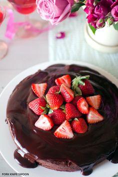 Dark Chocolate Cake with Ganache Glaze