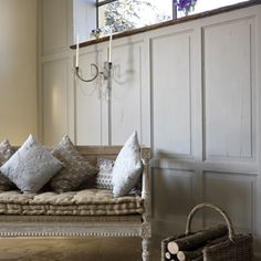 settee french pillows cushions ticking gustavian bench eclectic home decor ideas