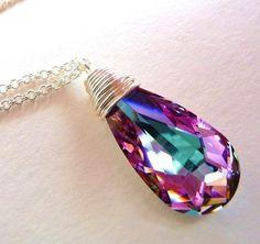 Swarovski Purple & Pink Crystal Pendant Necklace by JBMDesigns,