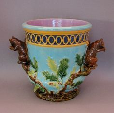 English turquoise cache pot with leaves & squirrel handles,  c. 1880 - Victorian period majolica