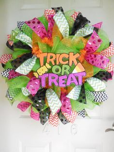 Trick or Treat Halloween Mesh Wreath with Polka Dot and Chevron Ribbon by TowerDoorDecor, $60.00