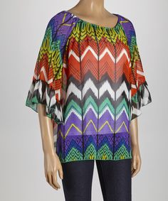 Take+a+look+at+the+Purple+&+Rust+Zigzag+Ruched+Tunic+on+#zulily+today!