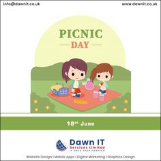 International Picnic Day 🍝 is the reminder that we must take some time out from our routine to enjoy 😍 happy times with our dear ones on picnic.  Happy #InternationalPicnicDay to all🎉 #dawnitserviceslimited  #picnicday2020 #picnicdays #enjoytravelling  #webdesigner #webdesign #webapplicationdevelopment #mobileappdesign #logodesign #digitalmarketing #graphicsdesign Mobile App Development Companies, Mobile Application Development, Web Development, Web Design, Logo Design, Custom Website, Mobile App Design, Seo Services, Digital Marketing