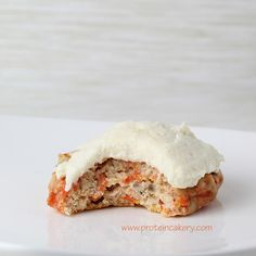 Prot: 9 g, Carbs: 8 g, Fat: 4 g, Cal: 104 -- Carrot Cake Protein Cookies with Cream Cheese Protein Frosting! Gluten-free and delicious! By Andréa's Protein Cakery.