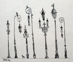 French style lamps, very tim burton Art Tim Burton, Tim Burton Kunst, Estilo Tim Burton, Tim Burton Style, Tim Burton Drawings Style, Tim Burton Sketches, Drawn Art, Grafiti, Illustration Mode