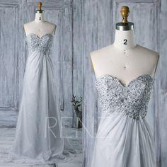 2016  Light Gray Chiffon Bridesmaid Dress Backless by RenzRags