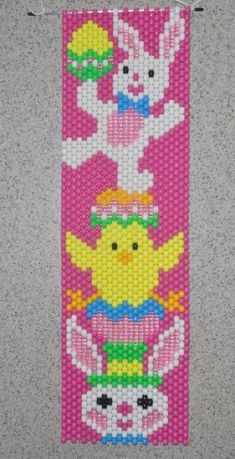 Items similar to Handmade Easter Bunny Chick Rabbit Beaded Banner with Nylon Cord Hanger on Etsy Pony Bead Patterns, Peyote Patterns, Beading Patterns, Cross Stitch Patterns, Pony Bead Crafts, Beaded Crafts, Beaded Ornaments, Ornament Crafts, Beaded Banners