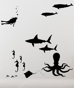 Take a look at this Black Sea Life Wall Decal Set by DecorDesigns on #zulily today!