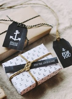 Free printable anchor wrapping paper & gift tags by Hey Look by marietta