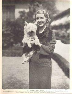 Movie Star Genevieve Tobin with Her West Highland White Terrier Westie Dog Vintage Print 1935